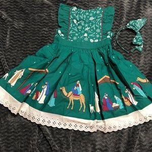 Eleanor Rose emerald nativity dress with headband